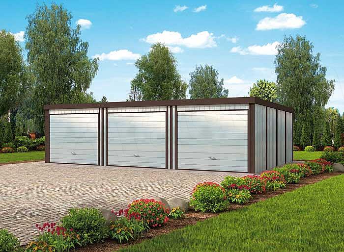 Projekt Domu Gb39 Garaż Blaszany Trzystanowiskowy E Projektypl