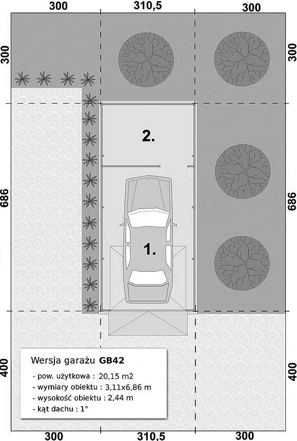 Projekt Domu Gb42 Garaż Blaszany Jednostanowiskowy Z Pomieszczeniem